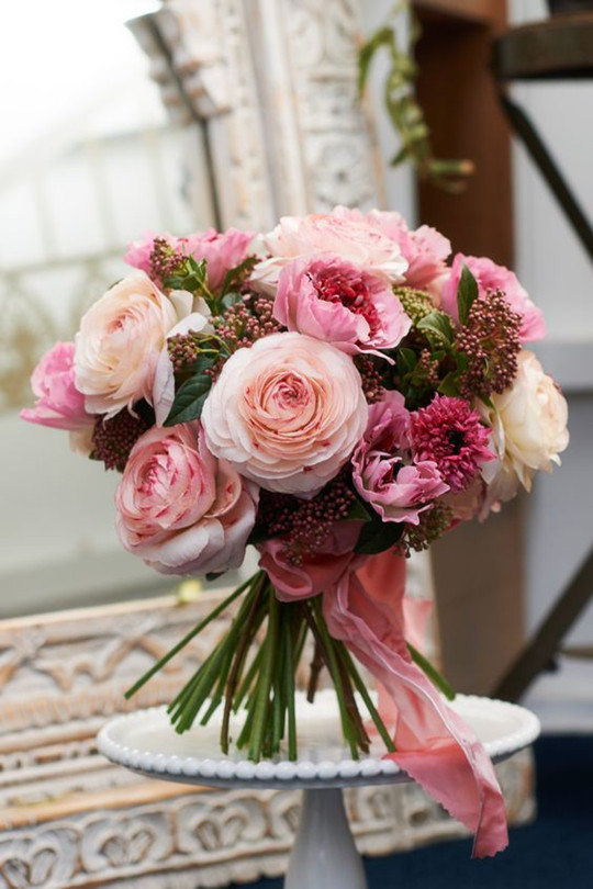 outstanding pink Garden Rose wedding Bouquet