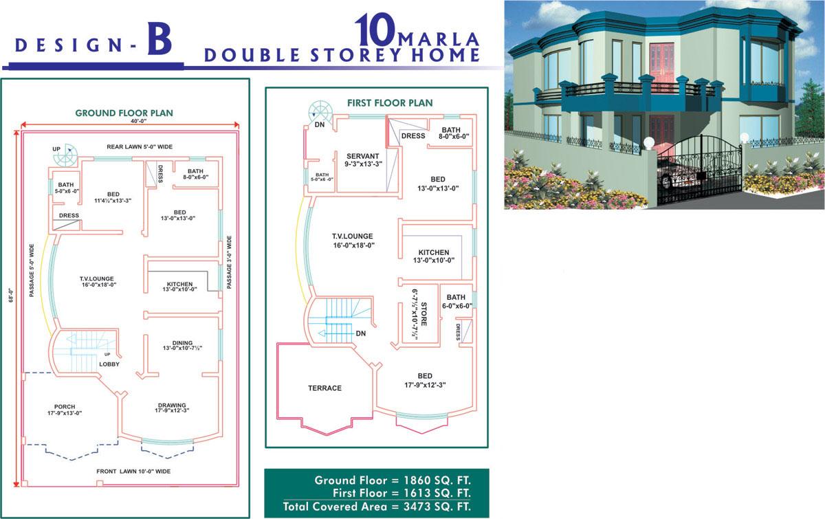 10 Marla House Plans