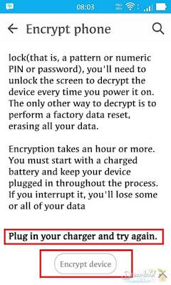 Anda akan melihat Encrypt phone pada menu Security