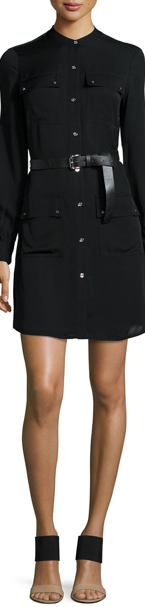 MICHAEL Michael Kors Belted Patch Pocket Silk Shirtdress black