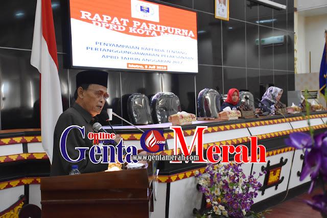 LKPJ Walikota Metro, APBD Tahun 2017 Surplus Rp54,17 Milyar