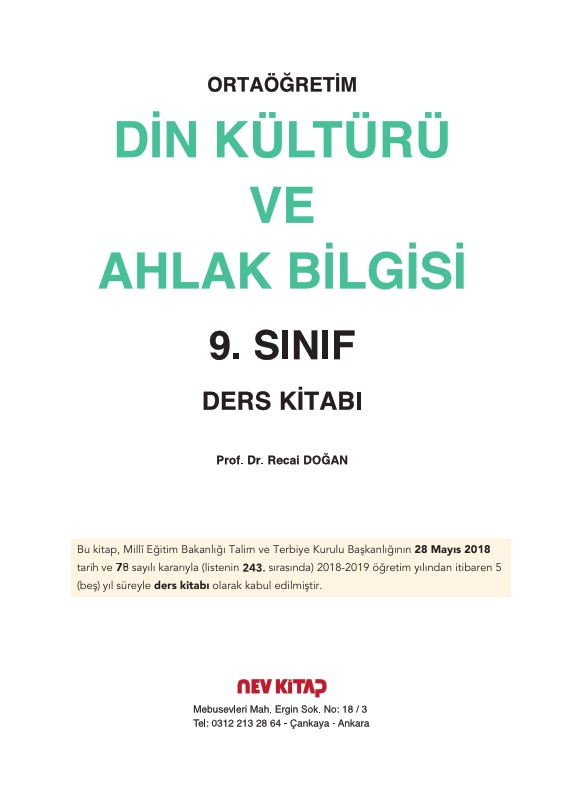 9 Sınıf Din Kültürü Ders Kitabı Cevapları Nev Yayınları Ata