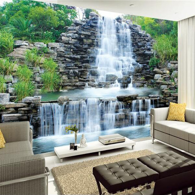 Wall Mural Ideas for Living Room Waterfall Nature