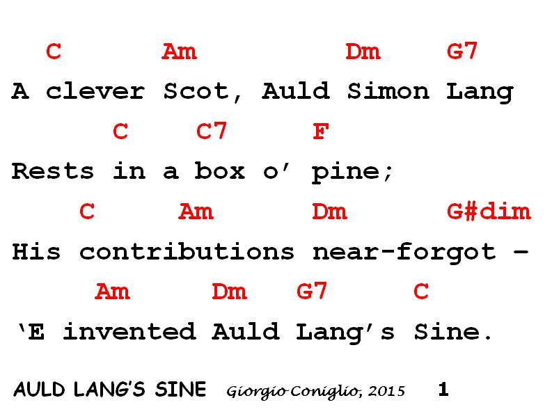 Silly Songs And Satire New Years Math Auld Langs Sine
