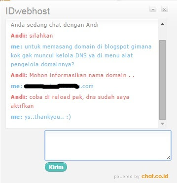 screen shot customer service idwebhost
