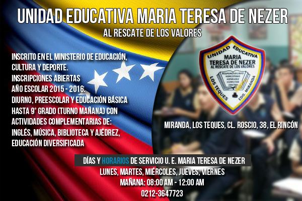 UNIDAD EDUCATIVA MARIA TEREZA DE NAZER en Paginas Amarillas tu guia Comercial