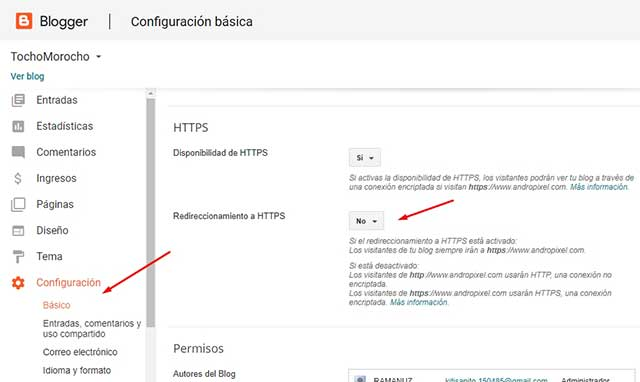 No redireccionamiento a HTTPS