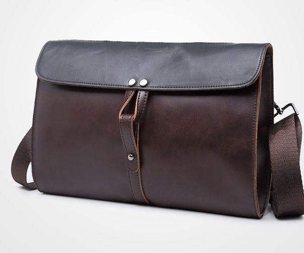 Túi đeo chéo da nam cao cấp nắp ngắn DF282