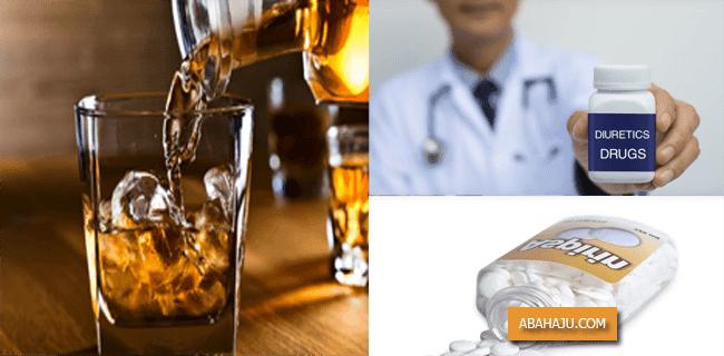 Alkohol, Obat-obatan Diuretic dan Aspirin dapat Meningkatkan Asam Urat