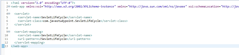 web.xml file of servlet life cycle