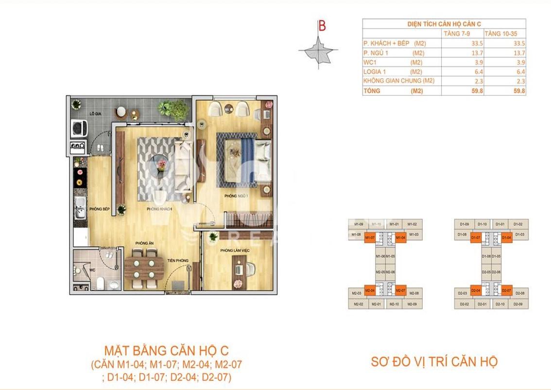 Mặt bằng căn hộ C - 59,8m2