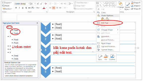 cara membuat list daftar di power point