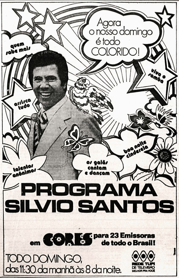 Silvio Santos. história dos anos 70. propaganda decada de 70. anos 70. Oswaldo Hernandez.