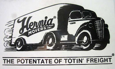 Close up of truck door with illustration of truck and tagline The Potentate of Totin' Freight
