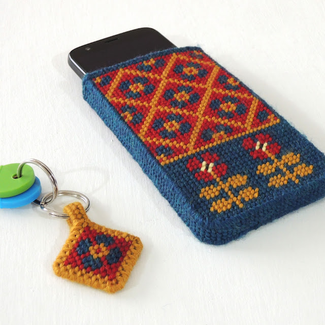 Blue, red and mustard fairisle pattern needlepoint phone pouch