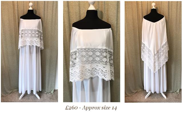 1970s off the shoulder lace vintage wedding dress, cape sleeve wedding dress,available from vintage lane bridal boutique bolton manchester