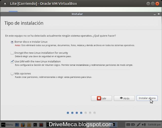 DriveMeca instalando Linux Lite 2.8 paso a paso