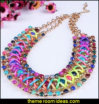 Funky Colorful Rainbow Colors Handmade Rope Woven Wide Chunky Necklace