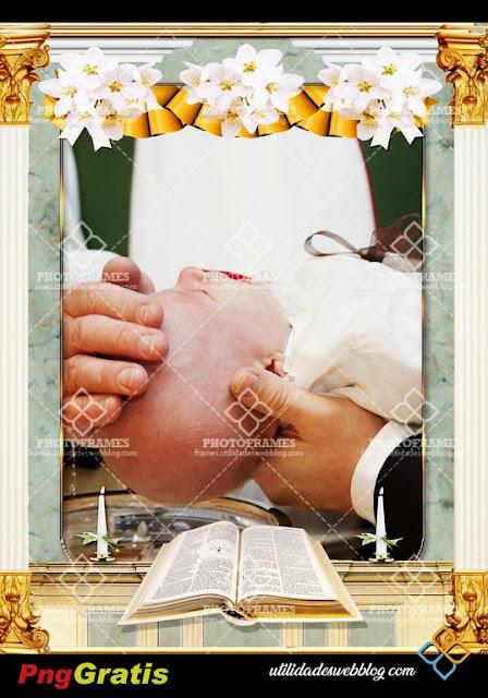 Marco para fotomontajes de bautizo, comunión, boda o confirma