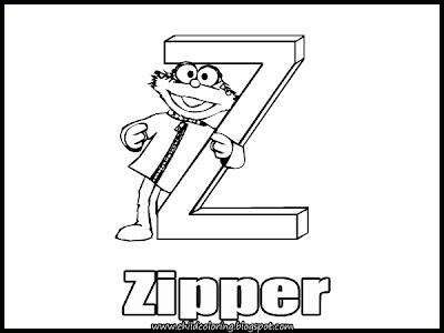 Sesame Street Alphabet Coloring Letter V, W, X, Y, Z