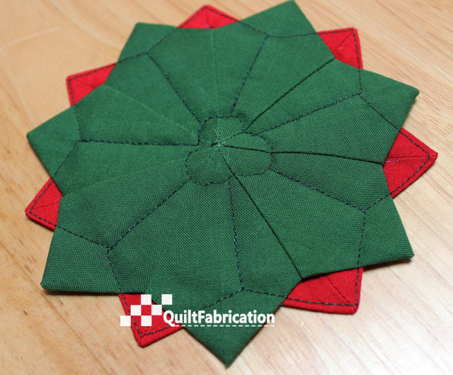 Dresden plate Poinsettia Coaster backside