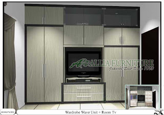 Lemari minimalis model tv unit Wave