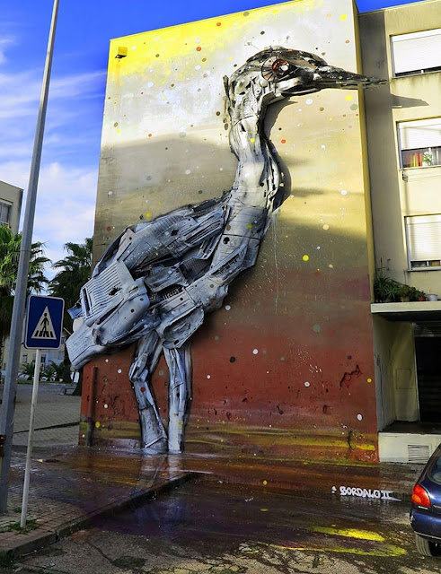 حيوانات,عملاقة,البرتغال,رسم,تصميم,قمامة,شوارع