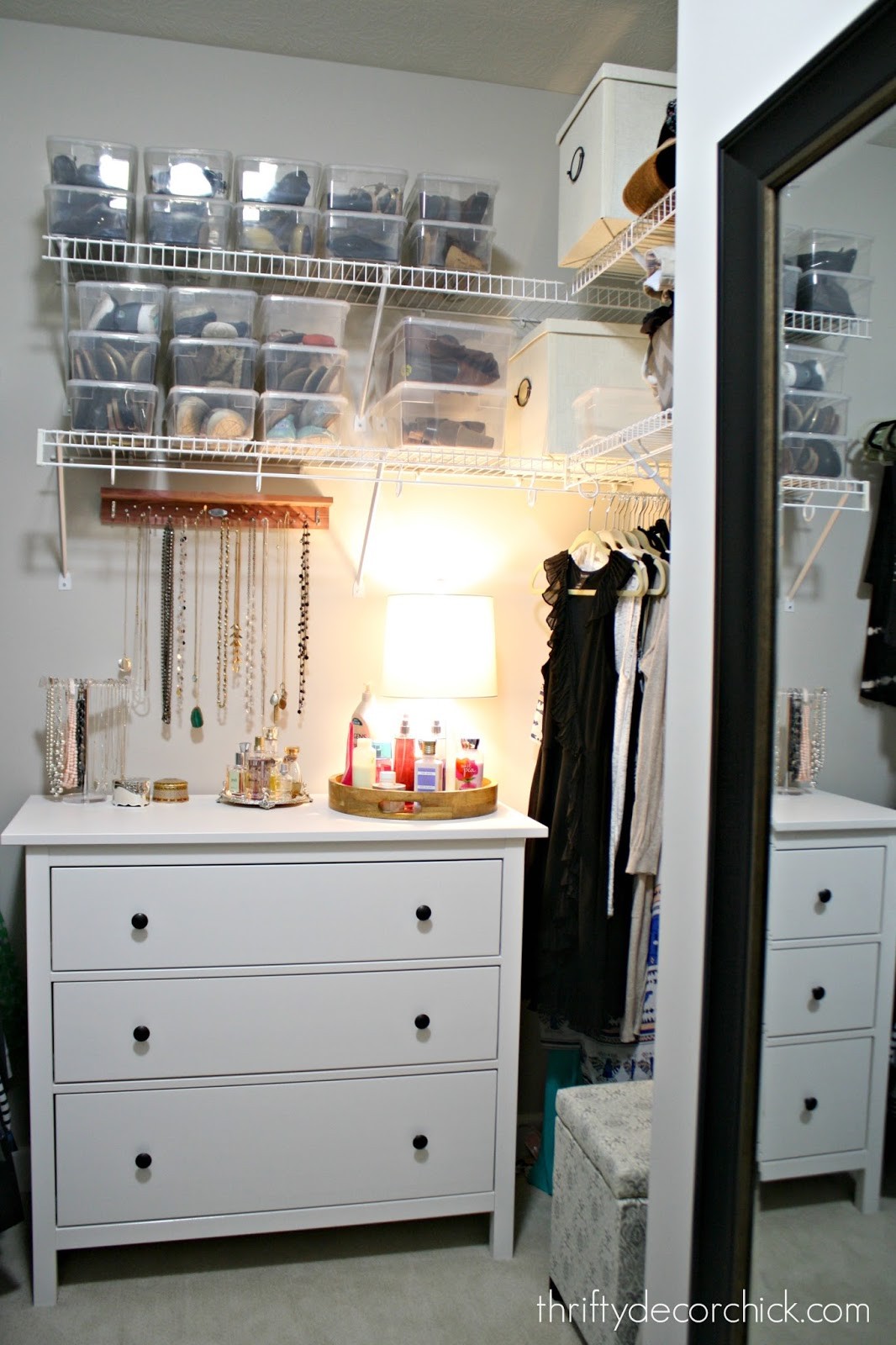 Girly closet with shoe and jewelry storage