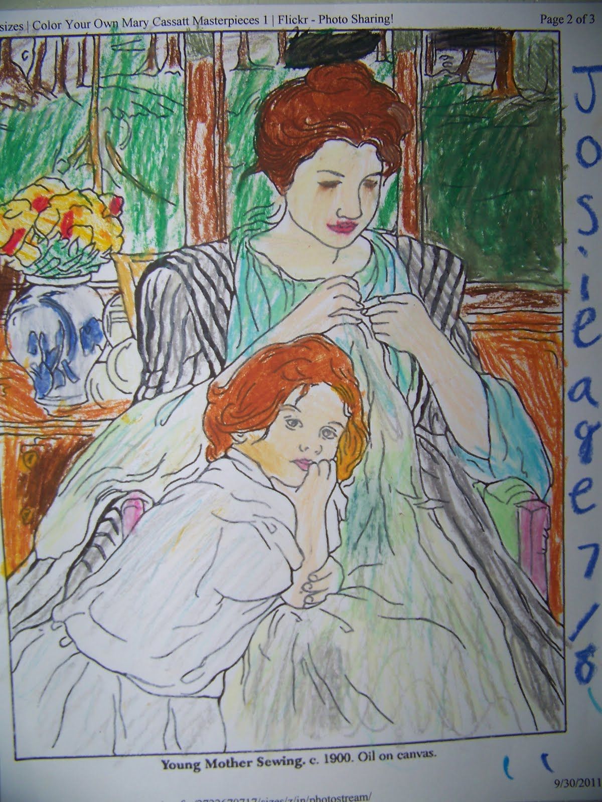 My Four Girls Mary Cassatt Coloring Page