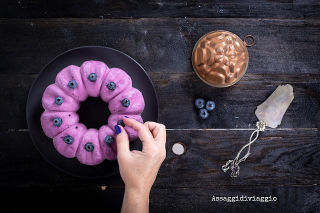 Mirtilla: Torta ai mirtilli e cremoso al cioccolato e cannella