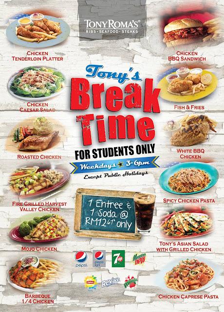 Tony Roma's Malaysia Break Time Student Deal Weekday Promo