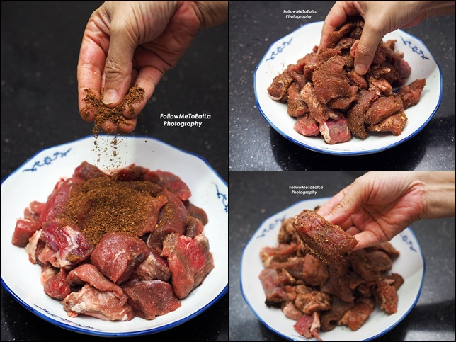 Massage the ingredients over the beef & set aside to rest for 20 minutes