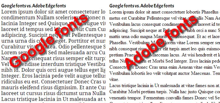 Cómo se ven Adobe Edge Web Fonts y Google fonts