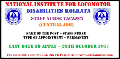 National Institute for Locomotor Disabilities Kolkata Staff Nurse Vacancy (Central Job)