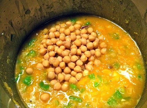 Soup Pot with Garbanzos just Added