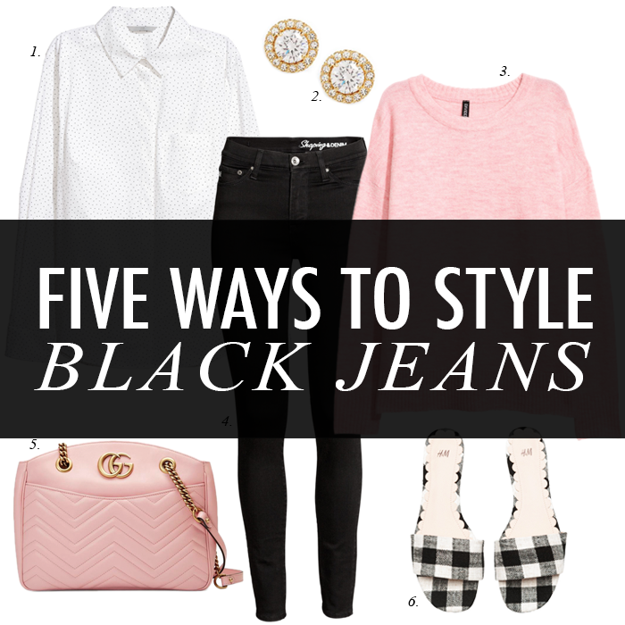 black jeans pink sweater gingham mules gucci bag