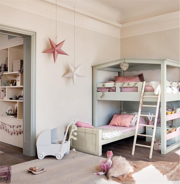 dormitorio con litera en forma de casa chicanddeco