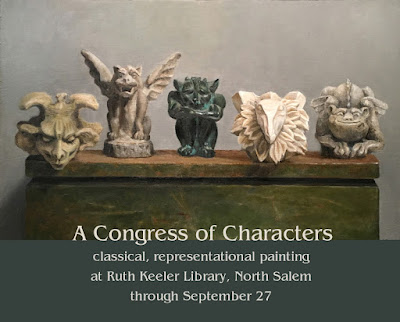 gargoyles, original oil painting, Ruth Keeler Library art show