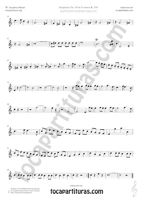2  Symphony Nº40 de Mozart Sheet Music for Recorder Music Scores