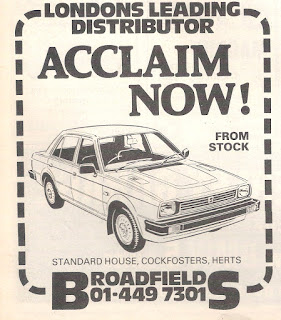 Broadfields advert from Autocar 24 October 1981