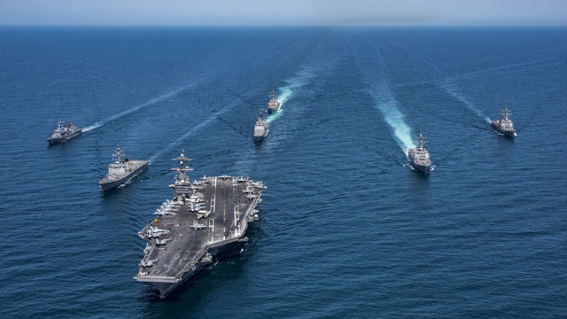 US and South Korean warships were on manoeuvres in the Pacific in May 2017