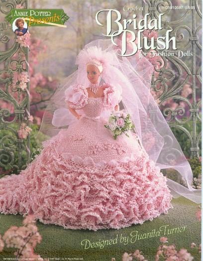 Vestido de noiva de crochê para bonecas Barbie - Receita em inglês 2