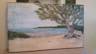tree beach scene California painting