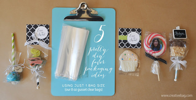 pretty packaging for favors by Lorrie Everitt of Creative Bag using 8oz gusset clear bags