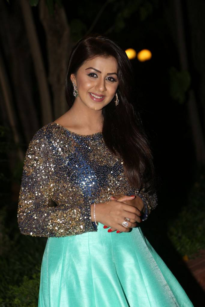 Tamil Girl Nikki Galrani Long Hair Stills In Long Blue Top