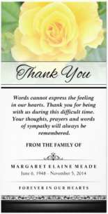yellow rose flower sympathy thank you card