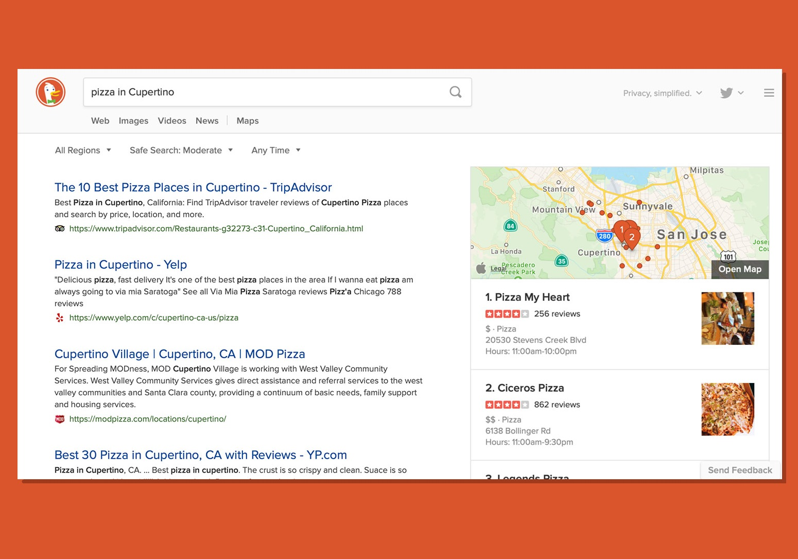 DuckDuckGo adds Apple Maps for local searches on the web