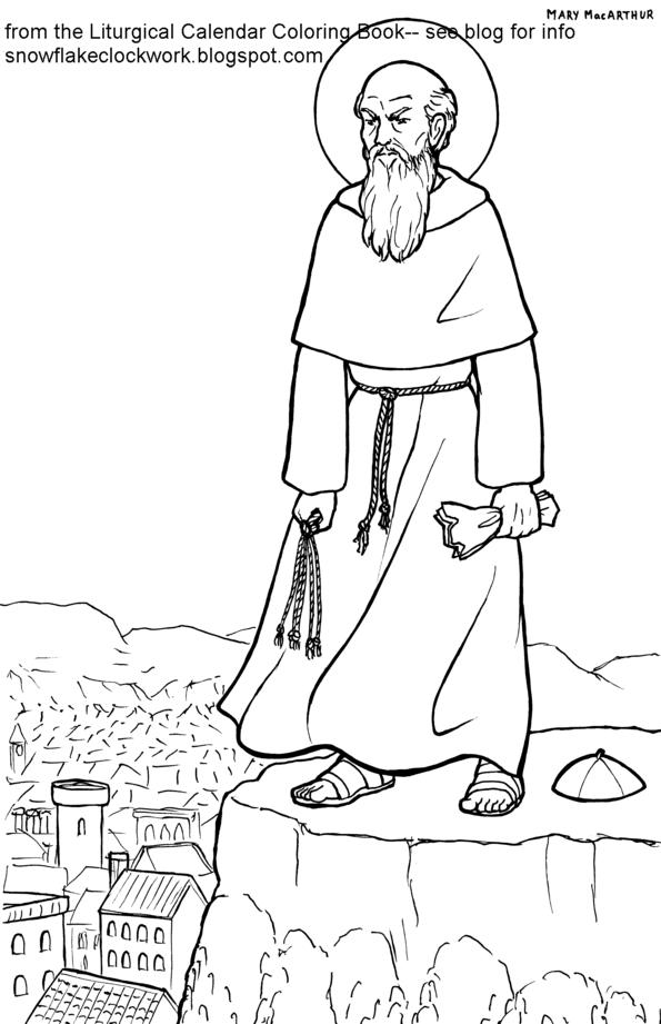 Snowflake Clockwork: St. Peter Damian coloring page
