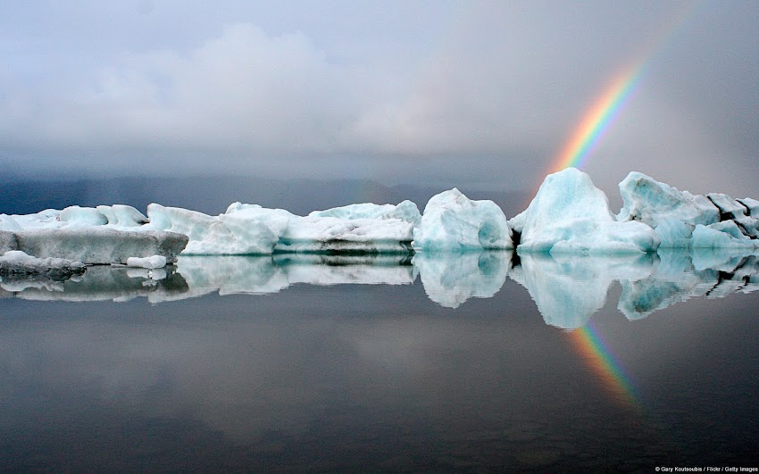 Icebergs and Rainbows (Jokulsarlon, Iceland)