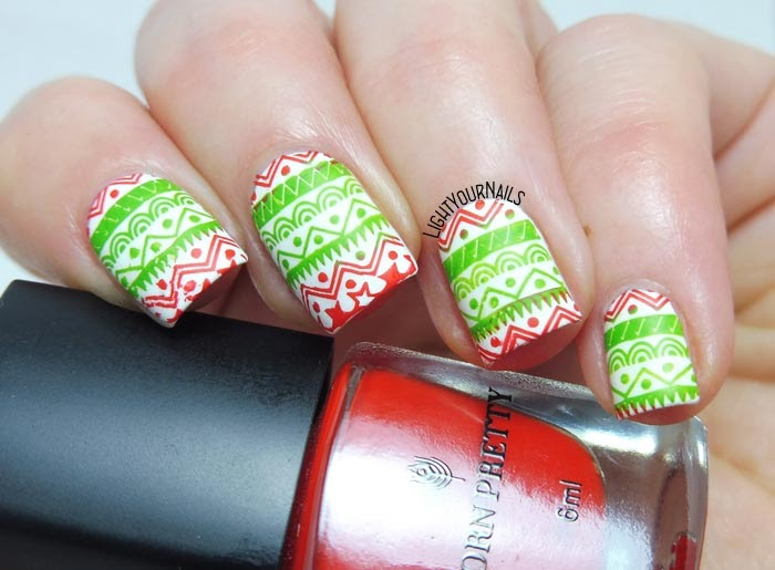 Red green white Christmas stamping nail art feat. BeautyBigBang XL-032 plate manicure di Natale verde rosso bianco #nailart #lightyournails